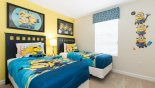 Bedroom #5 with twin beds and Minions theming - www.iwantavilla.com is the best in Orlando vacation Villa rentals
