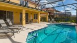 View of pool & spa towards covered lanai with this Orlando Villa for rent direct from owner