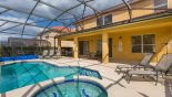 Villa rentals in Orlando, check out the Pool deck with 5 sun loungers and 2 patio tables with 12 chairs