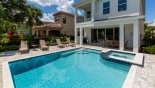 Spacious rental Reunion Resort Villa in Orlando complete with stunning Covered lanai with patio table & 6 chairs & gas BBQ