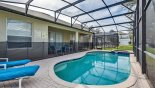 Villa rentals in Orlando, check out the View of pool deck towards covered lanai showing 2 out of the 4 available sun loungers
