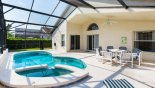 Spacious rental Cumbrian Lakes Villa in Orlando complete with stunning View of pool & spa towards covered lanai with patio table & 6 chairs