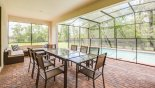 Covered lanai with patio table & 8 chairs - www.iwantavilla.com is your first choice of Villa rentals in Orlando direct with owner
