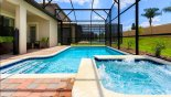 Spacious rental Champions Gate Villa in Orlando complete with stunning Pool & spa viewed towards covered lanai
