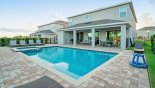 View of pool deck towards covered lanai from Hawthorne 1 Villa for rent in Orlando
