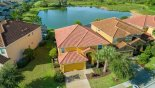 Villa rentals near Disney direct with owner, check out the Aerial view of villa showing lake behind
