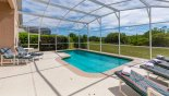 Orlando Villa for rent direct from owner, check out the View of conservation area from pool deck - hedges ensure total privacy
