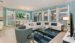 Villa rentals near Disney direct with owner, check out the Family room viewed towards dining area