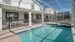 Spacious rental Champions Gate Villa in Orlando complete with stunning View of pool towards covered lanai