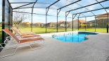 Villa rentals near Disney direct with owner, check out the View of the pool with 5 relaxing  sun loungers - perfect to soak up the sun