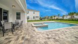 View of covered lanai & pool deck from Manchester 1 Villa for rent in Orlando