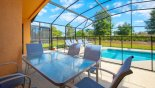 Orlando Villa for rent direct from owner, check out the Covered lanai with patio table & seating for 6 through to the deck and pool