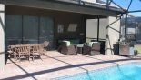 Covered lanai with ample seating for all - www.iwantavilla.com is the best in Orlando vacation Villa rentals