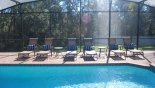 Pool deck with 6 sun loungers with this Orlando Villa for rent direct from owner