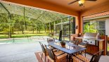 Covered lanai with outdoor kitchen incorporating a built-in mains gas BBQ - www.iwantavilla.com is the best in Orlando vacation Villa rentals