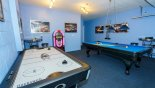 Villa rentals in Orlando, check out the Games room with pool table, air hockey soft-tip dartboard and jukebox