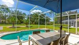 Orlando Villa for rent direct from owner, check out the Patio table with 6 chairs & parasol on pool deck