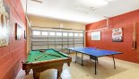 Games room with pool table, table tennis & dartboard from Monticello 5 Villa for rent in Orlando