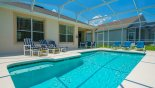 View of pool & spa towards covered lanai from Springtree 2 Villa for rent in Orlando