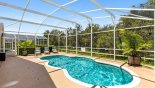 Spacious rental Highlands Reserve Villa in Orlando complete with stunning Sunny pool deck with 3 sun loungers and privacy hedge screening next door pool