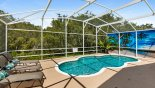 Right side of pool has an attractive privacy screen & left side has a privacy hedge - www.iwantavilla.com is the best in Orlando vacation Villa rentals