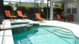 Canterbury 5 Villa rental near Disney with View of pool showing lanai offering welcome shade