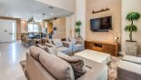 Delight 2 Townhouse rental near Disney with Living room viewed towards kitchen & entrance foyer