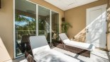 Private balcony off master bedroom #2 with 2 qualiy sun loungers with this Orlando Townhouse for rent direct from owner