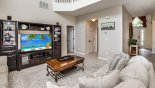 Villa rentals near Disney direct with owner, check out the Family room with huge LCD cable TV with DVD player & surround sound system