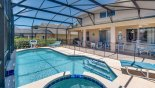 View of pool & spa towards covered lanai from Magna Bay 1 Villa for rent in Orlando