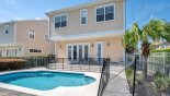 Villa rentals near Disney direct with owner, check out the Railing around the pool deck with low level hedges on all sides offers additional privacy