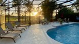 Villa rentals in Orlando, check out the View of pool at sunset
