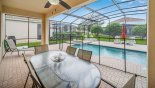View of extensive covered lanai with ceiling fan - www.iwantavilla.com is your first choice of Villa rentals in Orlando direct with owner