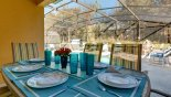 Alfresco dining for 6 by the pool side under the covered lanai - www.iwantavilla.com is your first choice of Villa rentals in Orlando direct with owner